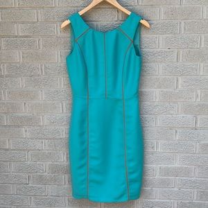 Gianni Bibi Silk Turquoise & Orange Shift Dress